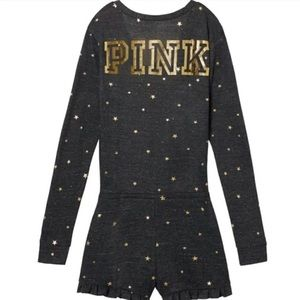 Victoria's Secret Pink PJ Snap Romper Gray Star